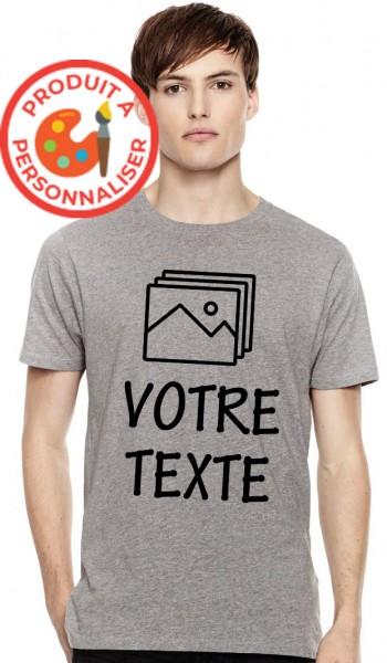 T-shirt gris chiné homme à personnaliser